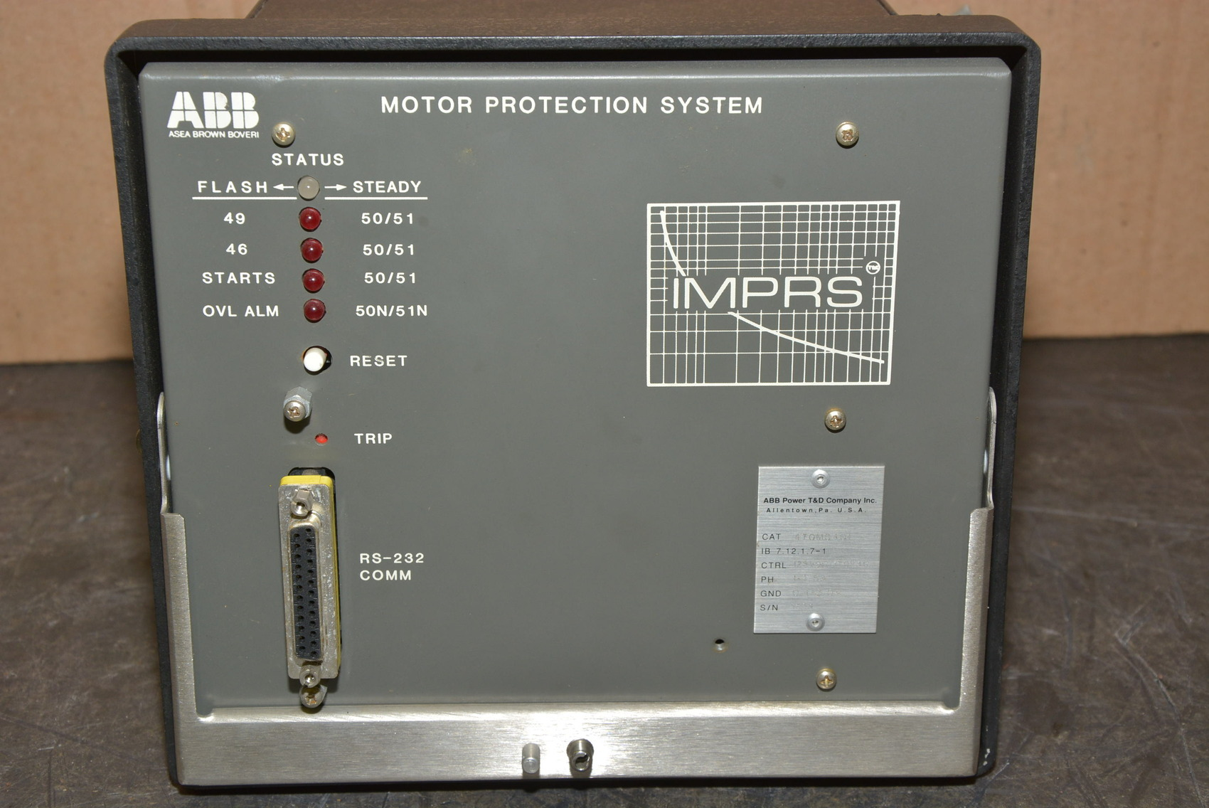 Abb Cat No 470m0401 Imprs Motor Protection System Module