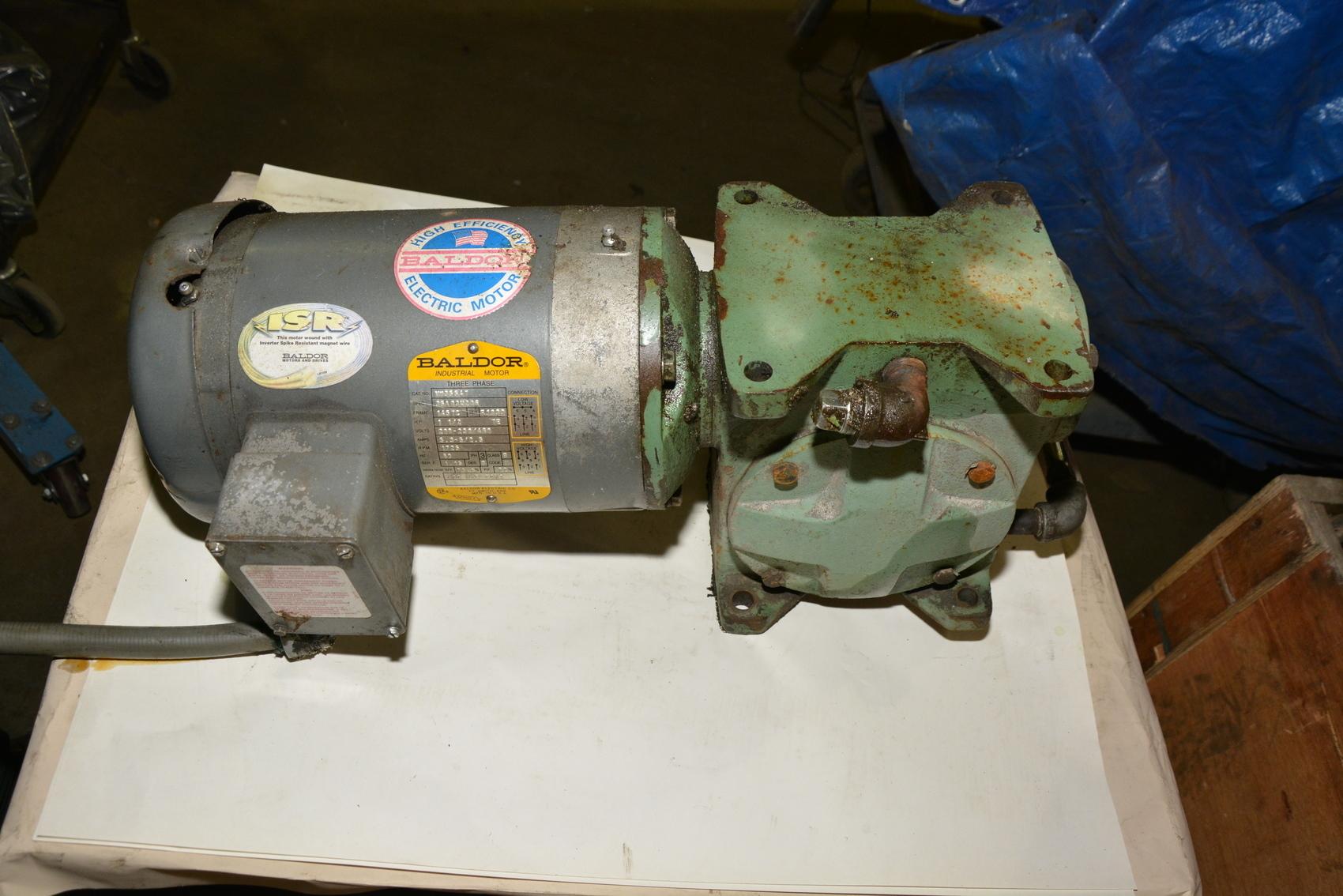 Baldor 1 5 hp gear motor 3 ph 1725 rpm vm3554t inv 19913 for Baldor 1 5 hp motor