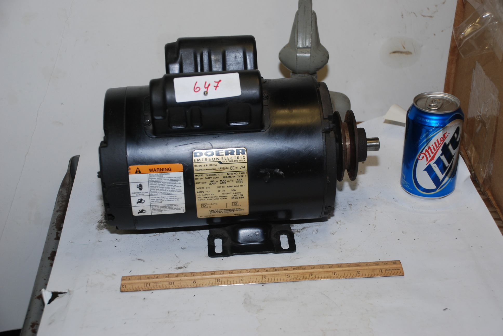Doerr Compressor Motor 5 Fake Hp 3 Real Hp 56 Frame 3450