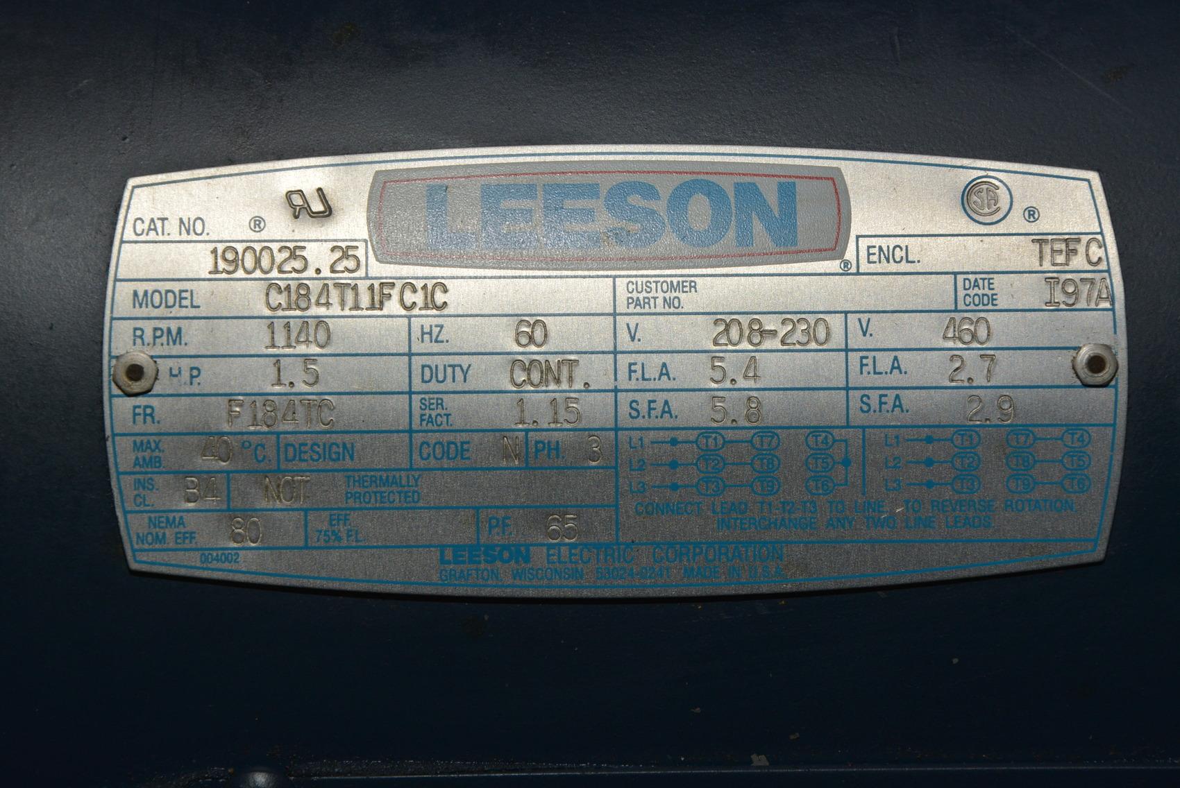 Leeson 190025 25 1 5 Hp 3