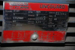 Lincoln Lincguard TV 2534 AC Motor 5 HP 3 Ph 875 RPM 230 460V 10776