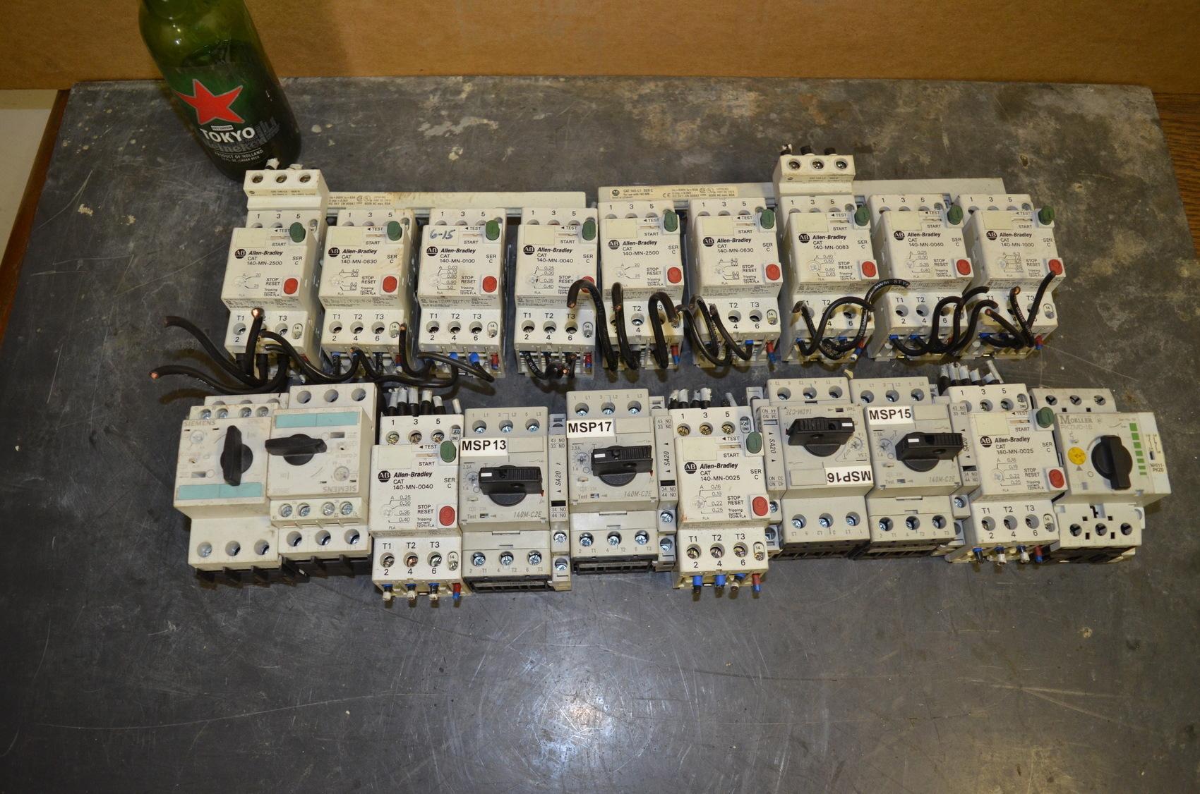 Lot of 19 manual motor starters allen bradley siemens for Allen bradley manual motor starter
