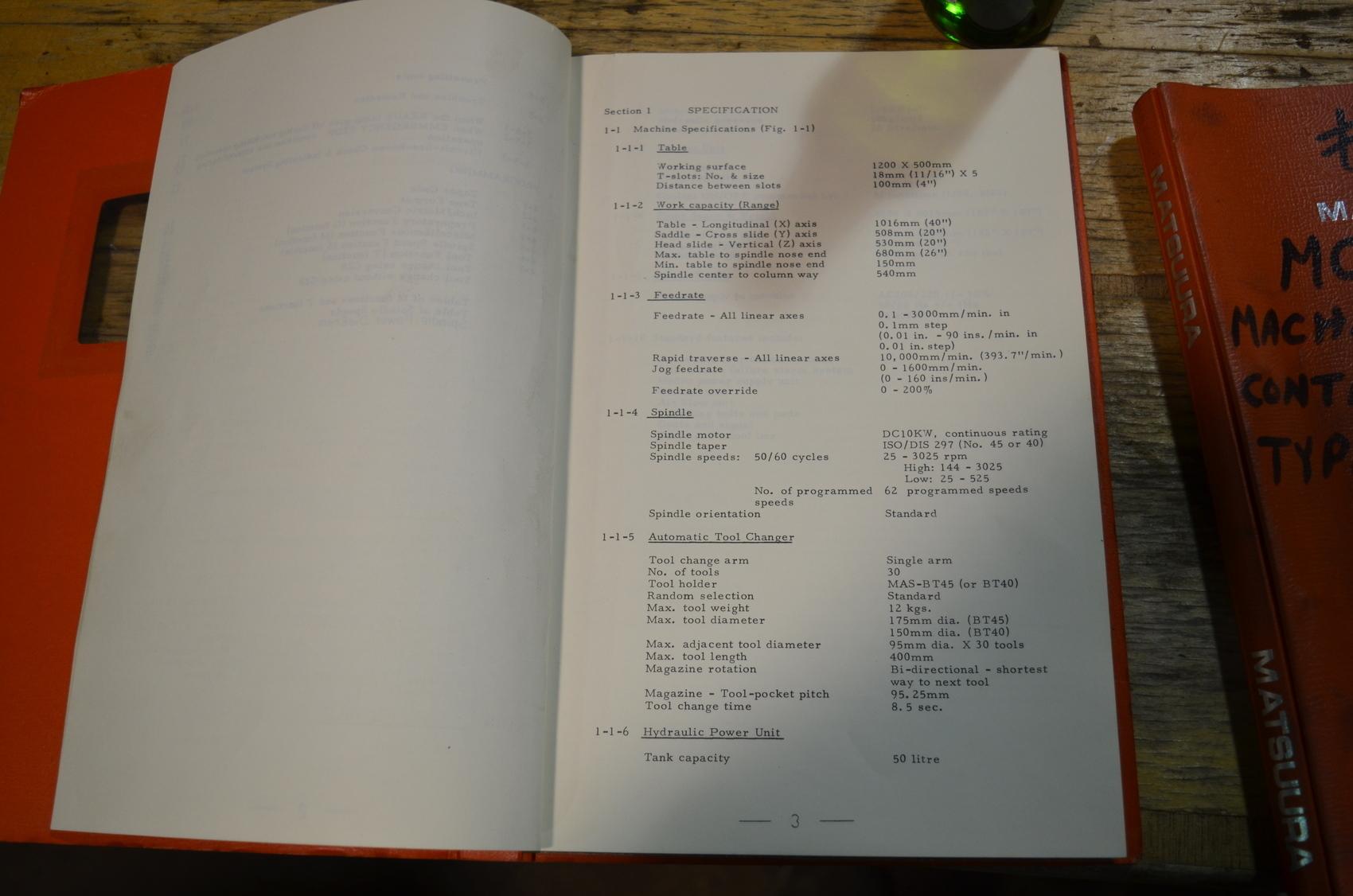 Lot Of 2 Manuals For Matsuura Mc 1000v W Electric Schematic Inv Elec Wiring Diagram Mubea Ironworker 3 6 Inv23963