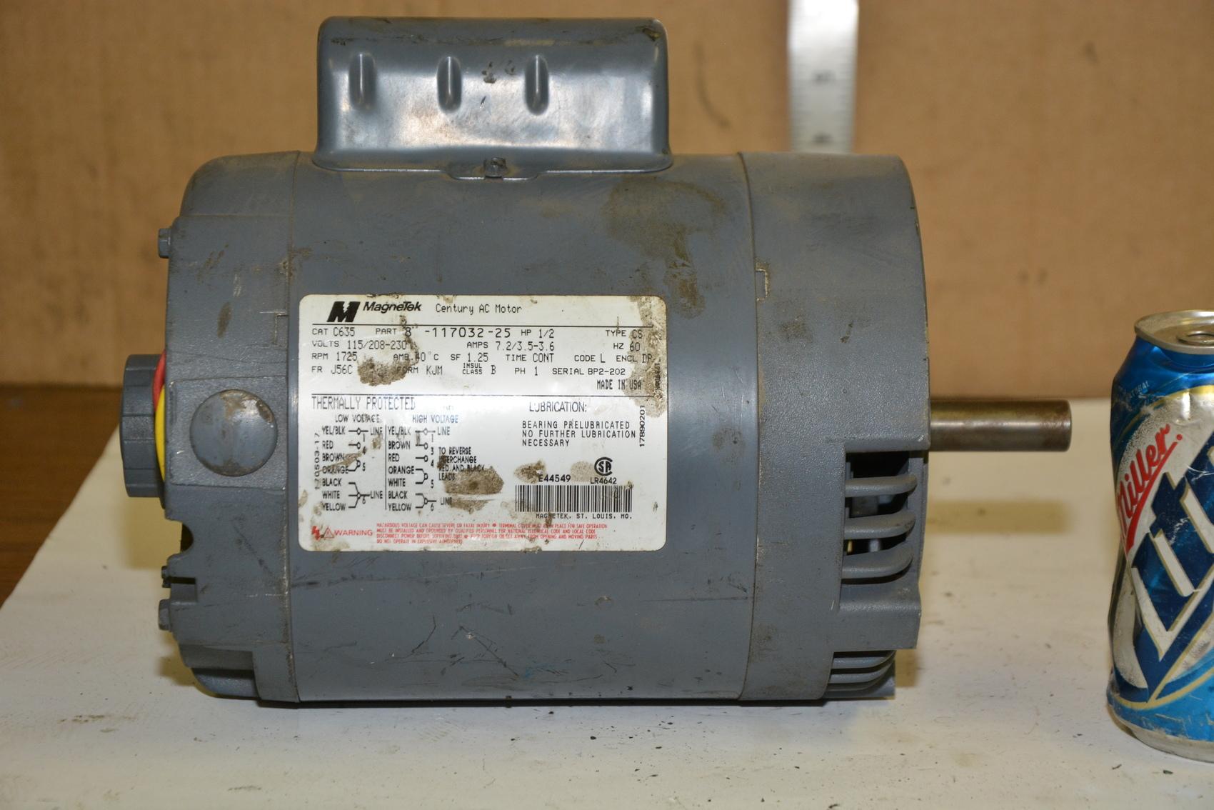 Magnetek C635 Single Phase Electric Motor 1 2 Hp 1725 Rpm