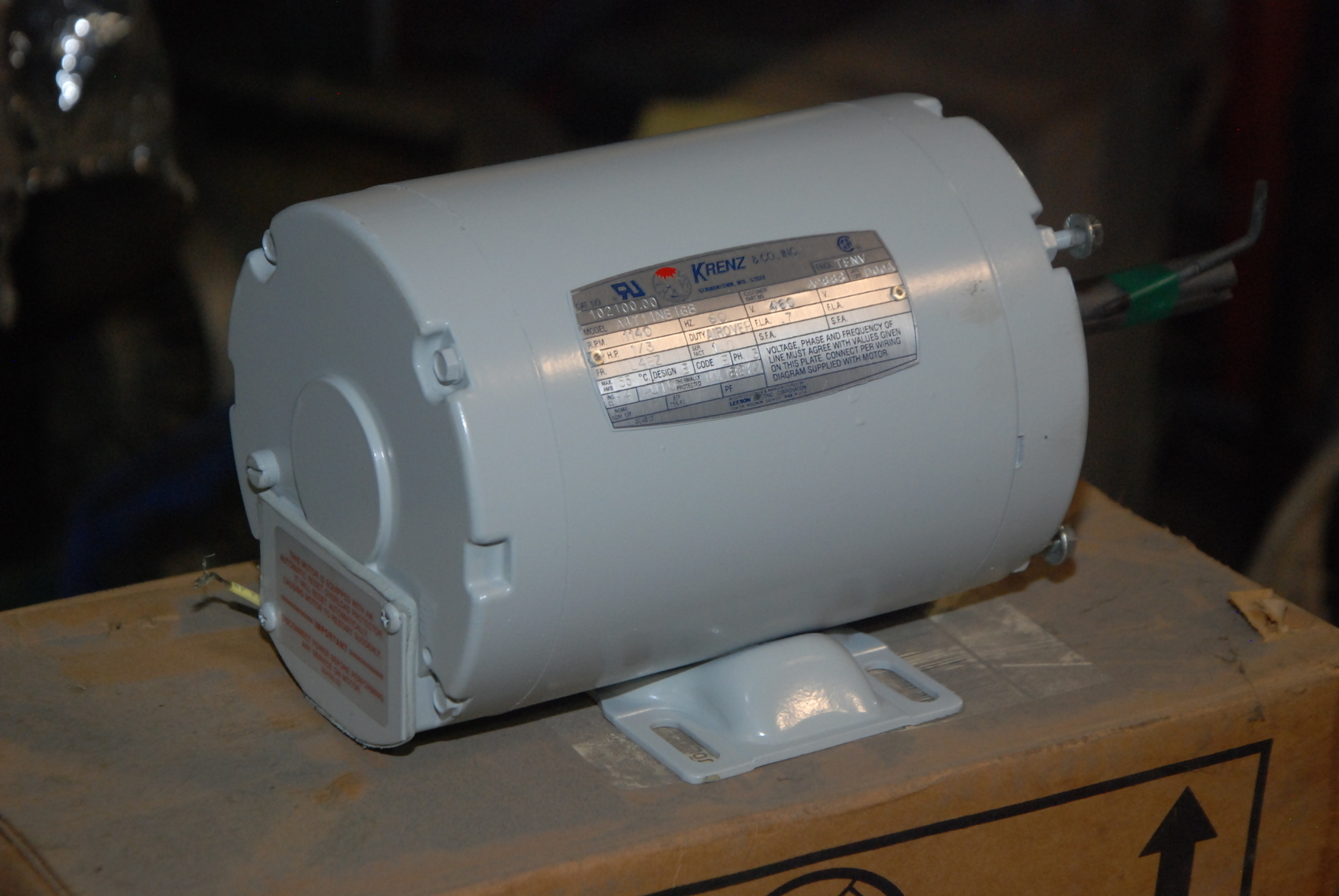 New krenz vent 1 3 hp electric motor 3ph 1140rpm for Dc motor 1 3 hp