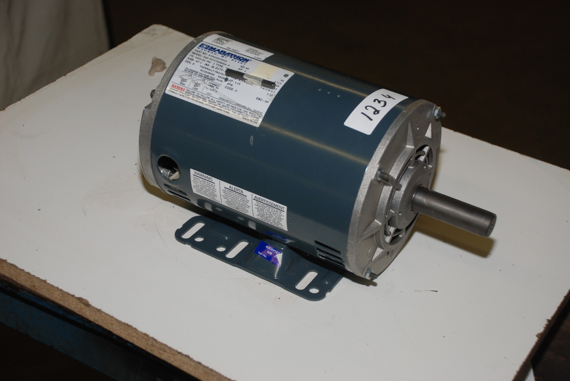 New marathon 56hz 2hp electric motor 7 8 shaft 3phase 208 for 2 hp 3 phase motor