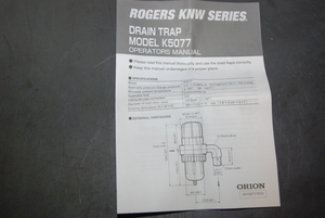 New Orion Rogers K5077 Drain trap Kobelco KNW series 22371