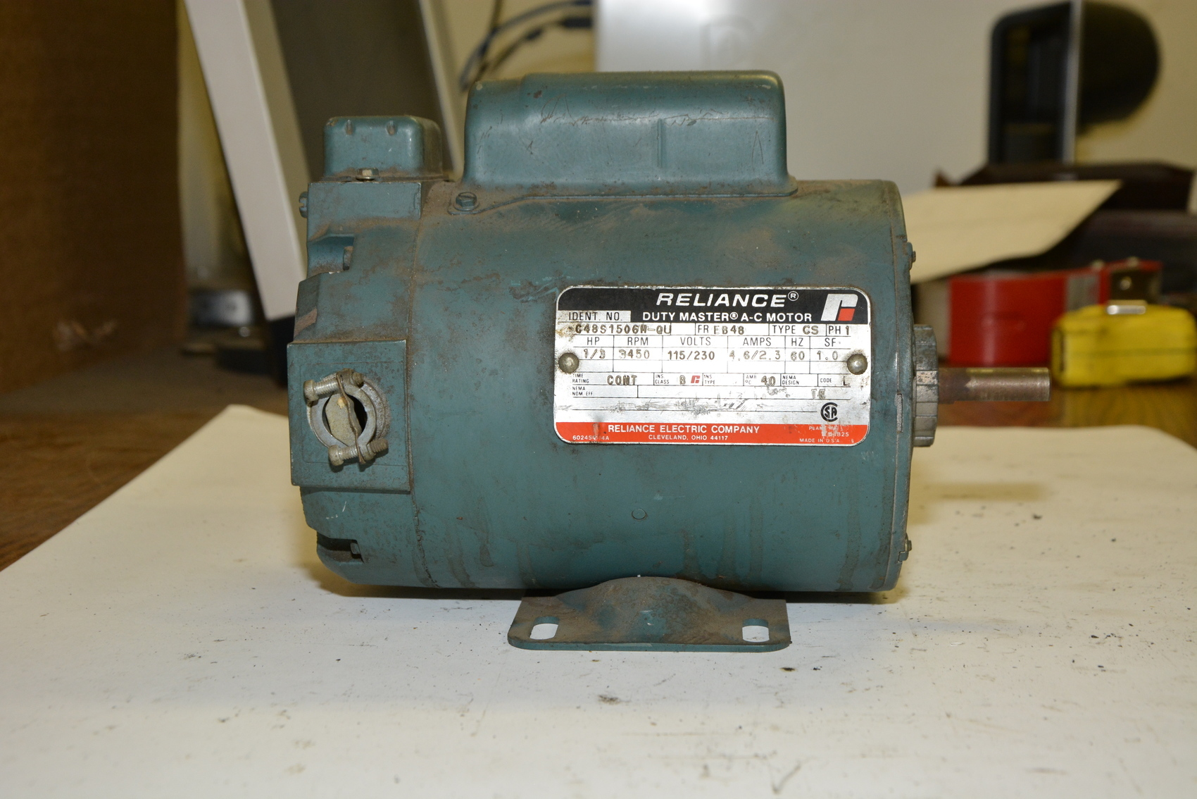 Reliance C48s1506m Qu Single Phase Electric Motor 1 3 Hp