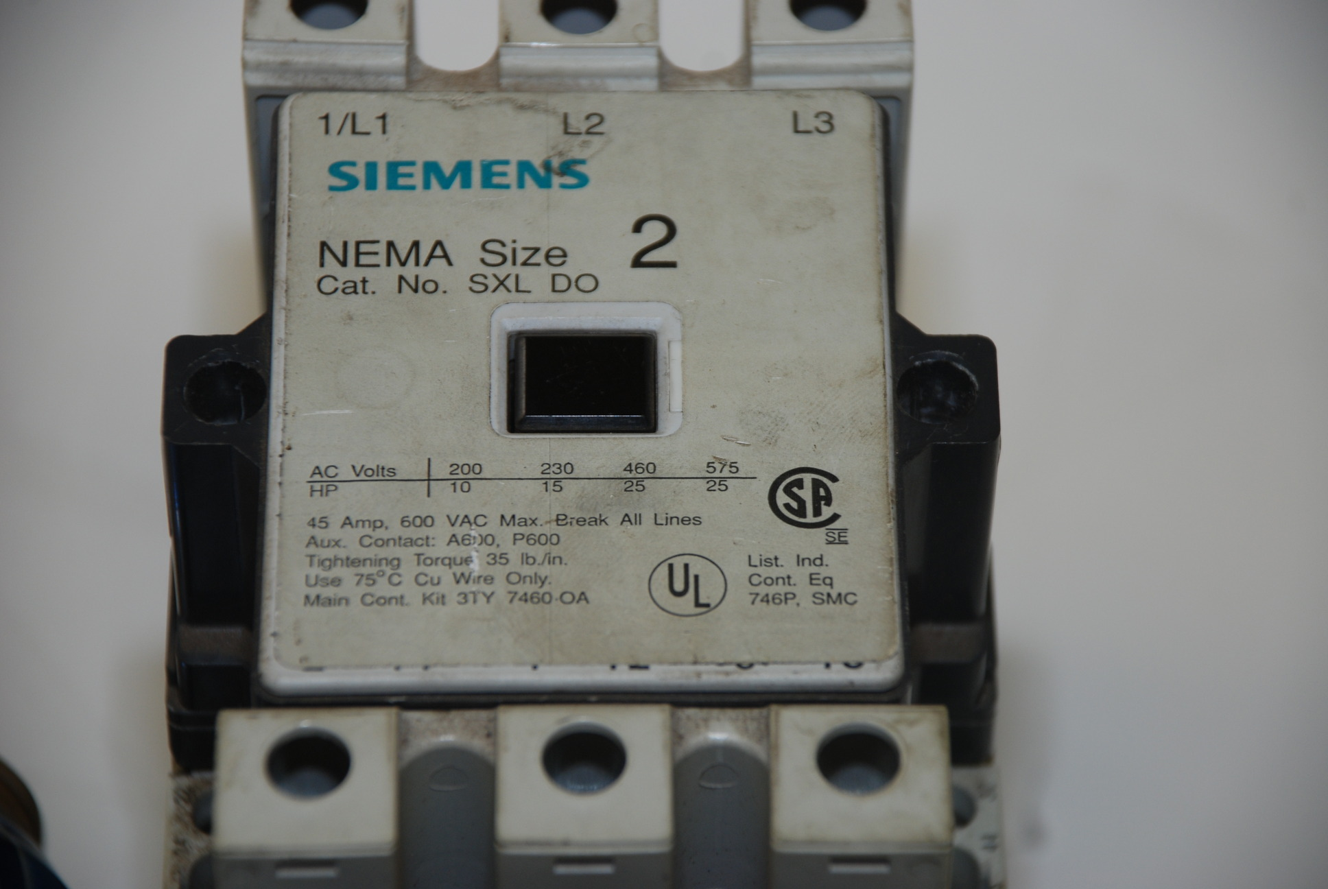 Siemens Sxl Do Size 2 Electric Motor Starter Of