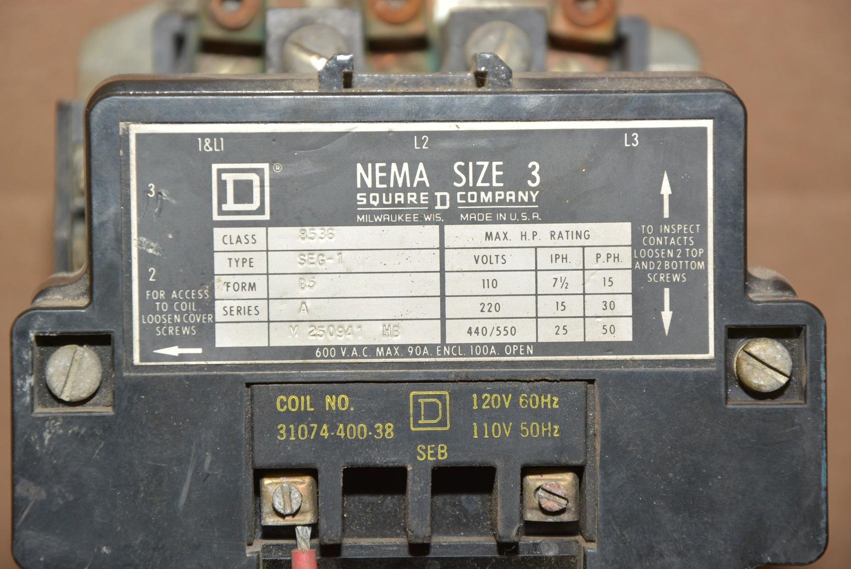 Square d size 3 type seg 1 50 hp motor starter 120v coil for 50 hp motor starter