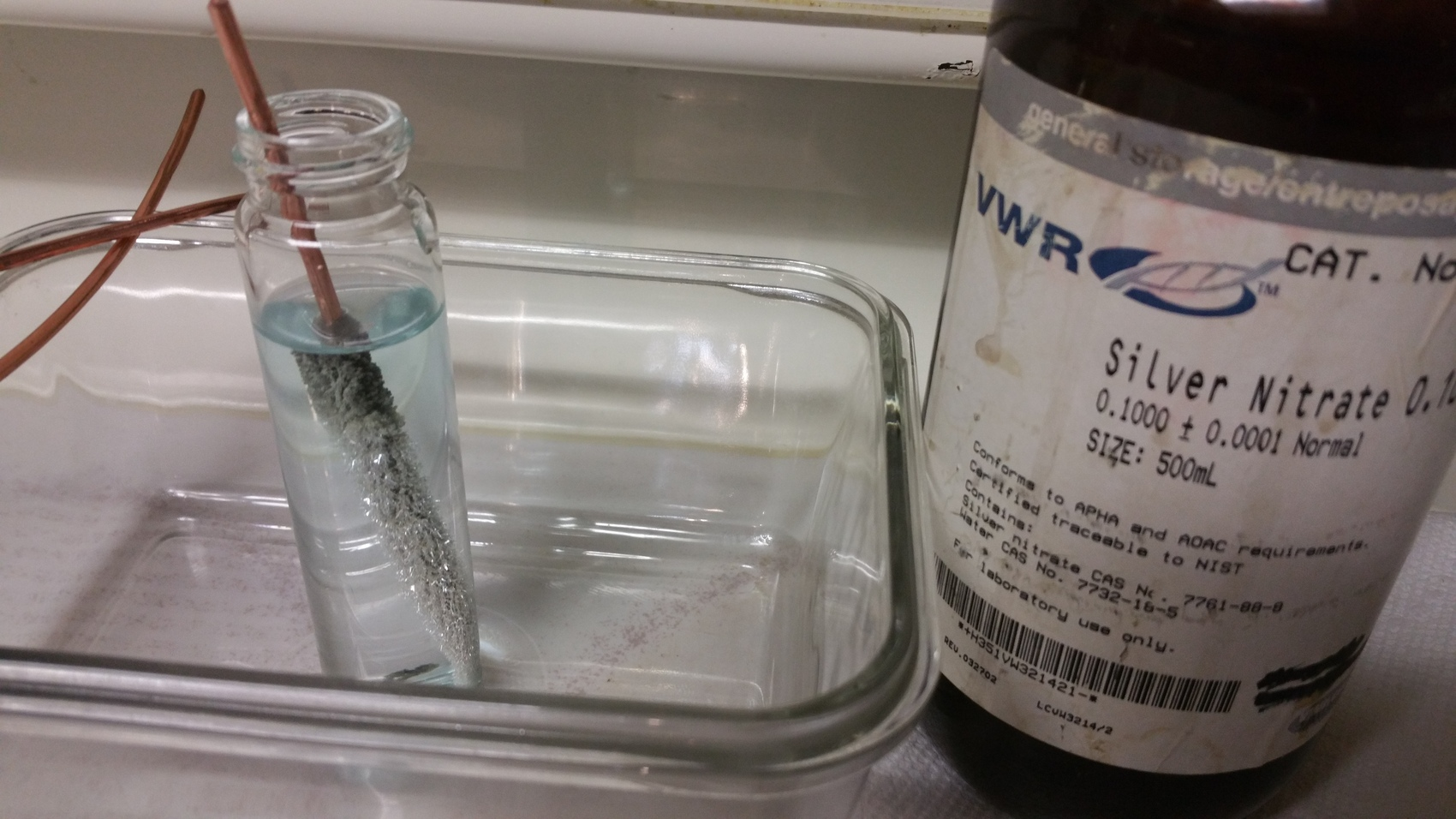 silver nitrate lab Chemistry lab copper -- silver nitrate reaction 1 introduction in this experiment you will mass solid silver nitrate (agno 3) and prepare a water solution of it.