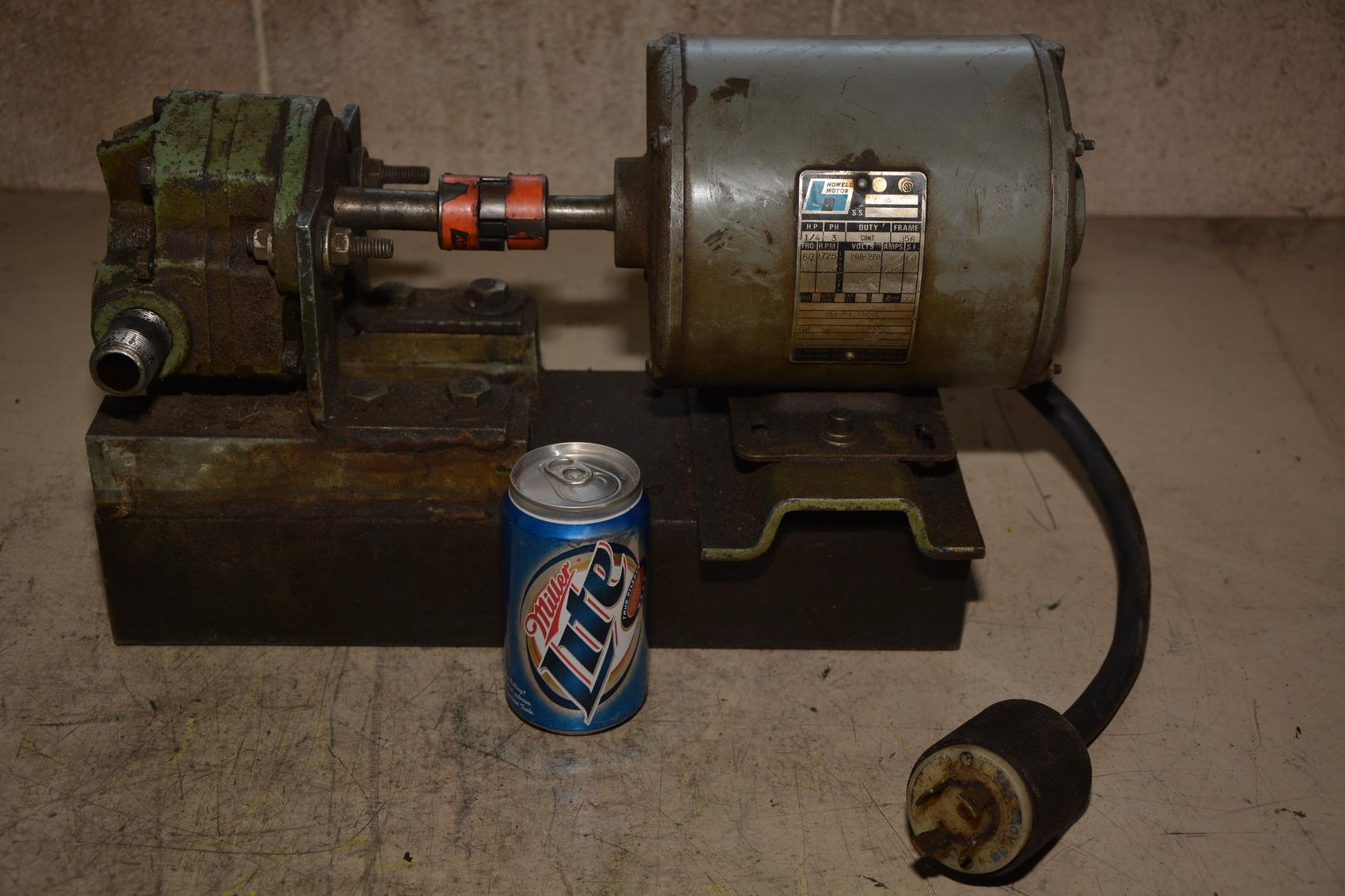 Webster ohcs l hydraulic liquid gear pump howell 1 4 hp ac for Electric motor hydraulic pump